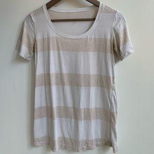 LULULEMON Oatmeal and white striped t-shirt